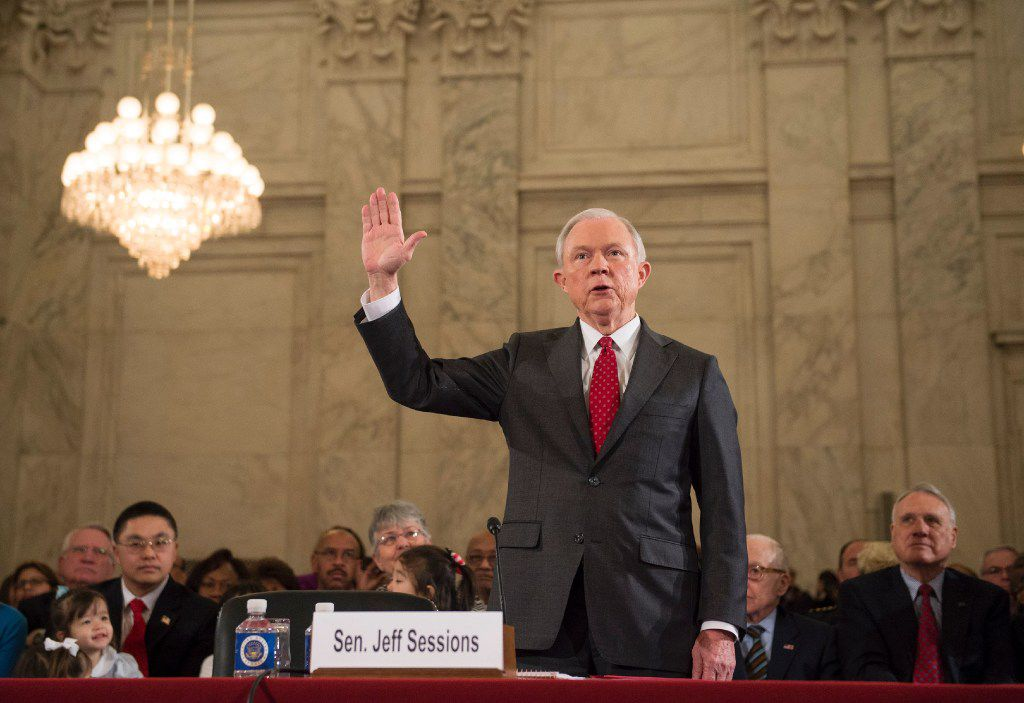 Sessions is sworn in before the Senate Judiciary Committee during his confirmation hearing.