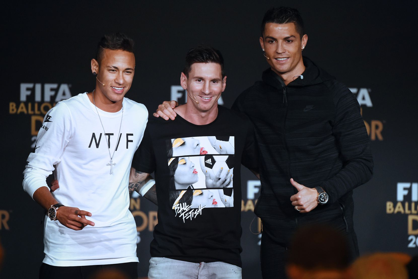 Los finalistas del Ballon d'Or 2015: Neymar, Messi y Cristiano. GETTY IMAGES