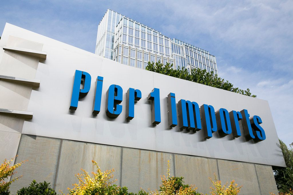 A logo sign outside of the headquarters of Pier 1 Imports Inc. in Fort Worth, Texas.
