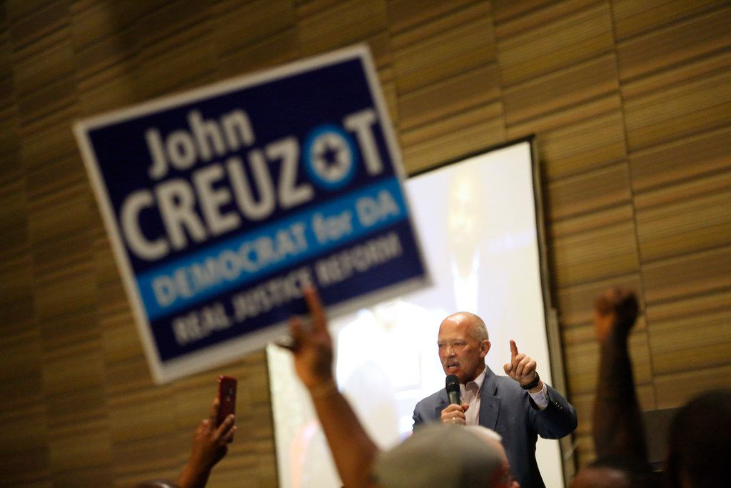 Newly elected District Attorney John Creuzot makes a speech during the Democratic election night watch party at Hyatt Regency in Dallas on Nov. 6, 2018.