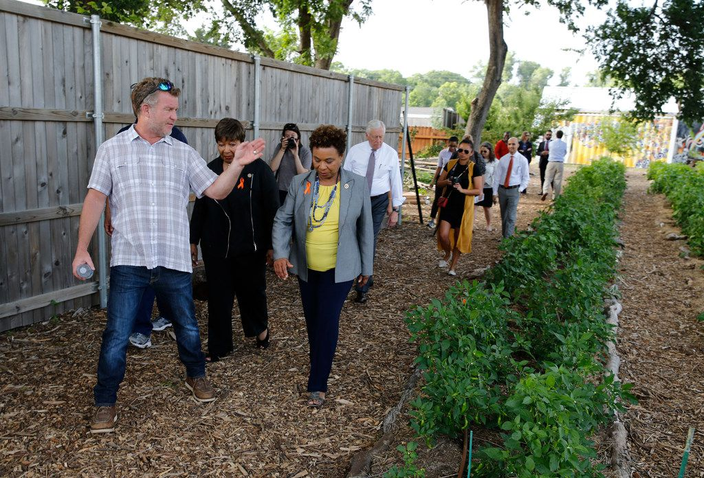 Daron Babcock, executive director of Bonton Farms leads a tour of Bonton Farms with Congresswoman Eddie Bernice Johnson (TX-30) (center), Congresswoman Barbara Lee (CA-13) (right) during a Pathways Out of Poverty Listening Tour in Dallas on Friday, June 1, 2018. The group including Congressman Marc Veasey (TX-33) and Democratic Whip Steny H. Hoyer (D-MD) visited Bonton Farms, Jubilee Park and Community Center and the Promise House in Dallas.