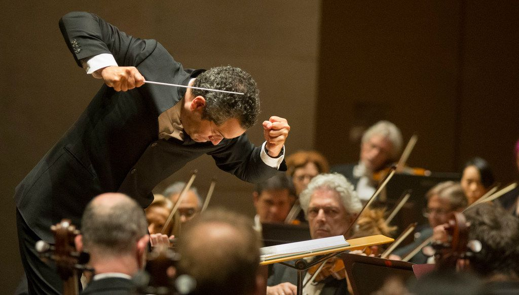 Andrew Grams conducts a selection from Tchaikovsky's Sleeping Beauty at the Meyerson Symphony Center in Dallas on Friday, Nov. 23, 2018.