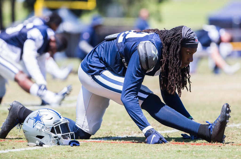 Dallas Cowboys cornerback Donovan Olumba (32) stretches during a morning practice at training camp in Oxnard, California on Thursday, August 8, 2019. (Ashley Landis/The Dallas Morning News)