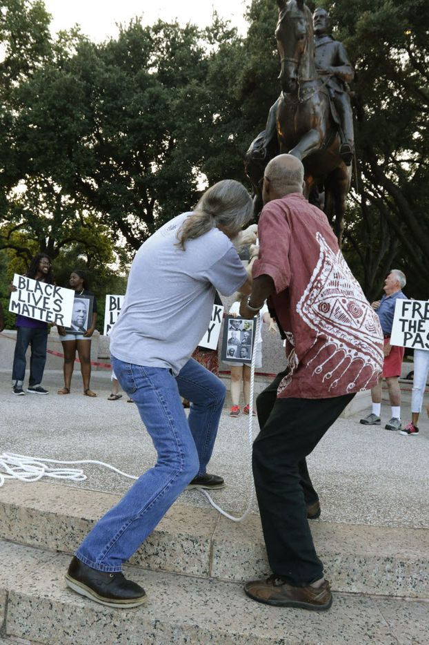 John Fullinwider and Charles Hillman tried to symbolically topple the statue of Robert E. Lee in June 30, 2015.