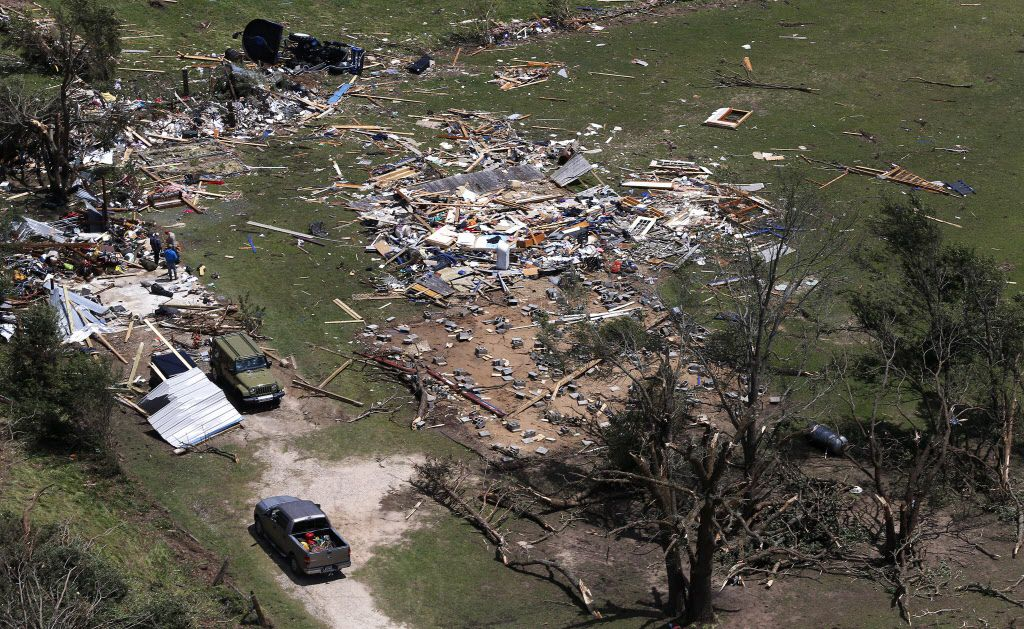 A destroyed home is seen from the air in Canton, Texas, Sunday, April 30, 2017. Severe storms including tornadoes swept through several small towns killed at least four people in East Texas yesterday.