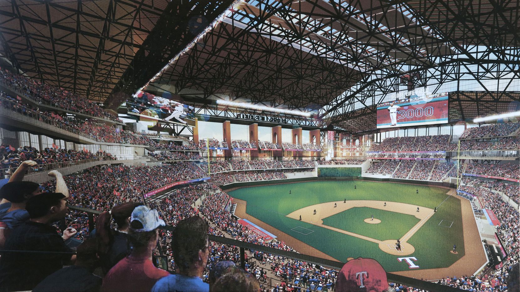 Globe Life Field renderings provided by HKS, showing the interior of the new ballpark.