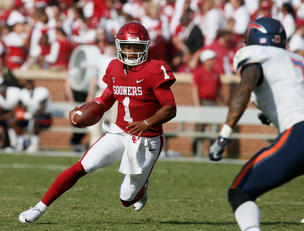 """FILE - In this Sept. 2, 2017, file photo, Oklahoma quarterback Kyler Murray (1) carries against UTEP during the third quarter of an NCAA college football game in Norman, Okla. Murray was a five-star recruit and one of the most celebrated high school players to come out of Texas in recent years. He started three games as a freshman for Texas A&M, but it went sour quickly in College Station and he transferred to Oklahoma. He sat out last season to satisfy NCAA requirements and has spent this season mostly mopping up as Baker Mayfield led No. 2 Oklahoma to the College Football Playoff. """"I'm just being patient,"""" Murray said.(AP Photo/Sue Ogrocki, File)"""