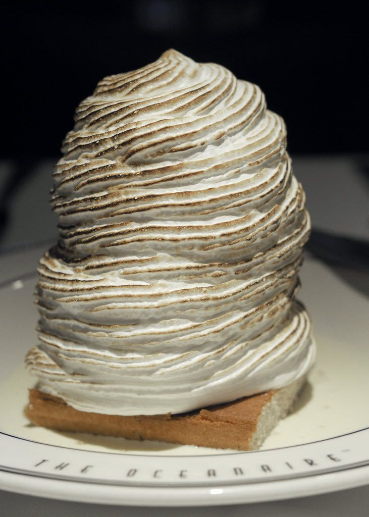 A very tall baked Alaska at the Oceanaire Seafood Room in Dallas