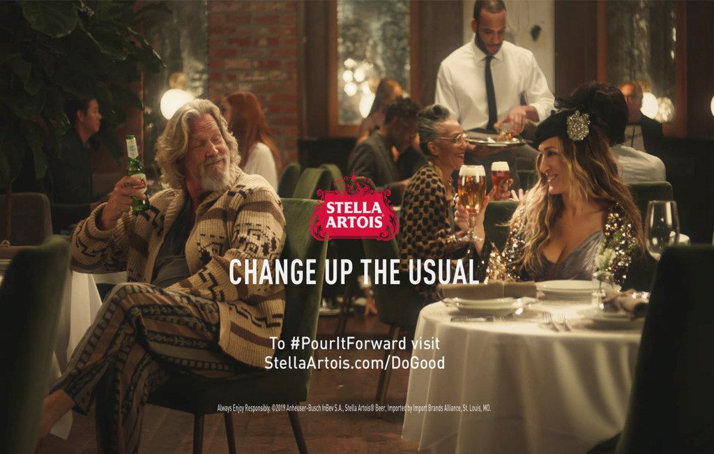 "Stella Artois' spot revives Jeff Bridges character ""The Dude"" from The Big Lebowski  and Sarah Jessica Parker's Carrie Bradshaw from Sex and the City."