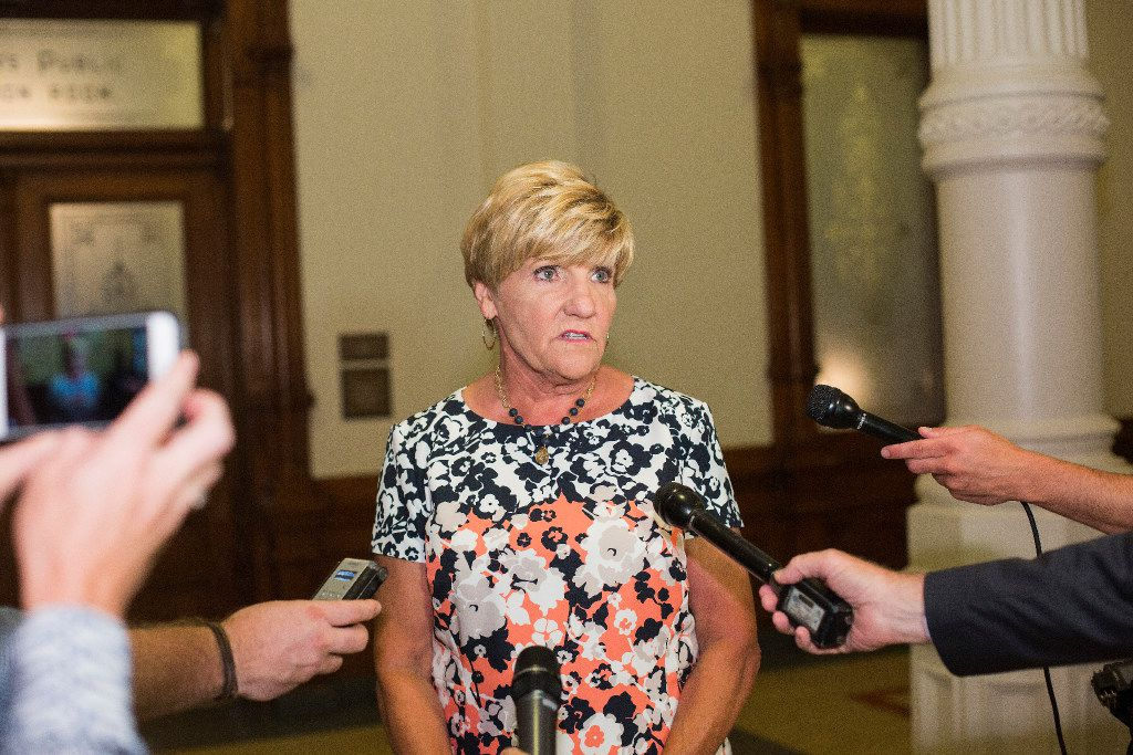 Fort  Worth Mayor Betsy Price speaks with reporters after meeting with Gov. Greg Abbott  to discuss the governor's escalating assault on local control.