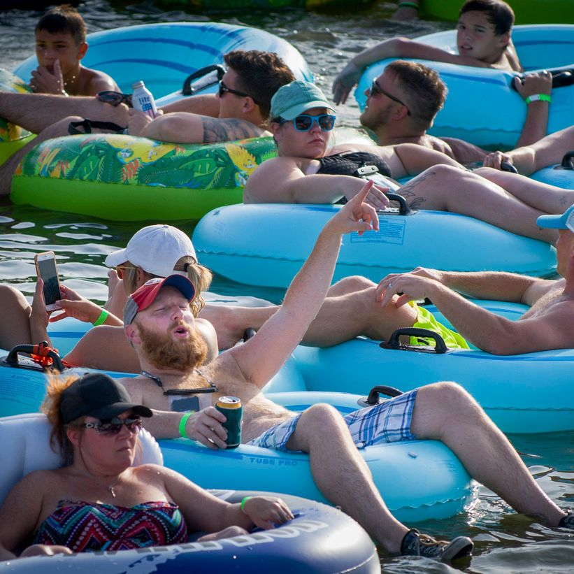 Guests float in tubes at Rockin' the River event at Panther Island Pavillion.