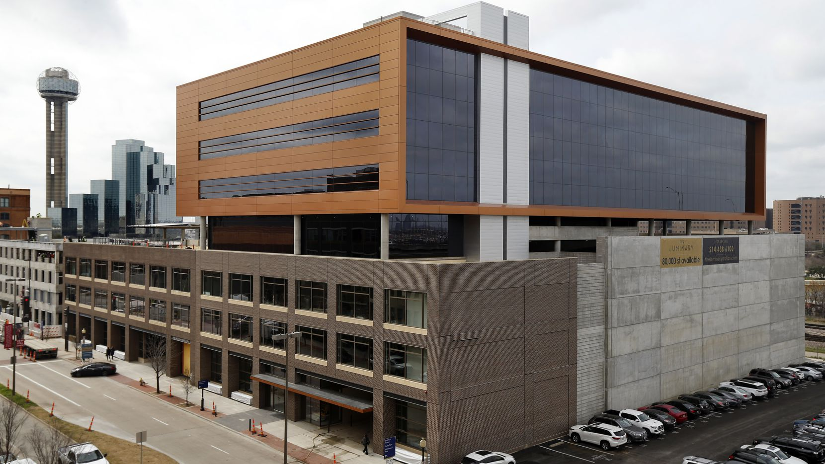 The Luminary, a seven-story office building by Crescent Real Estate and Corgan, is near completion in downtown Dallas.