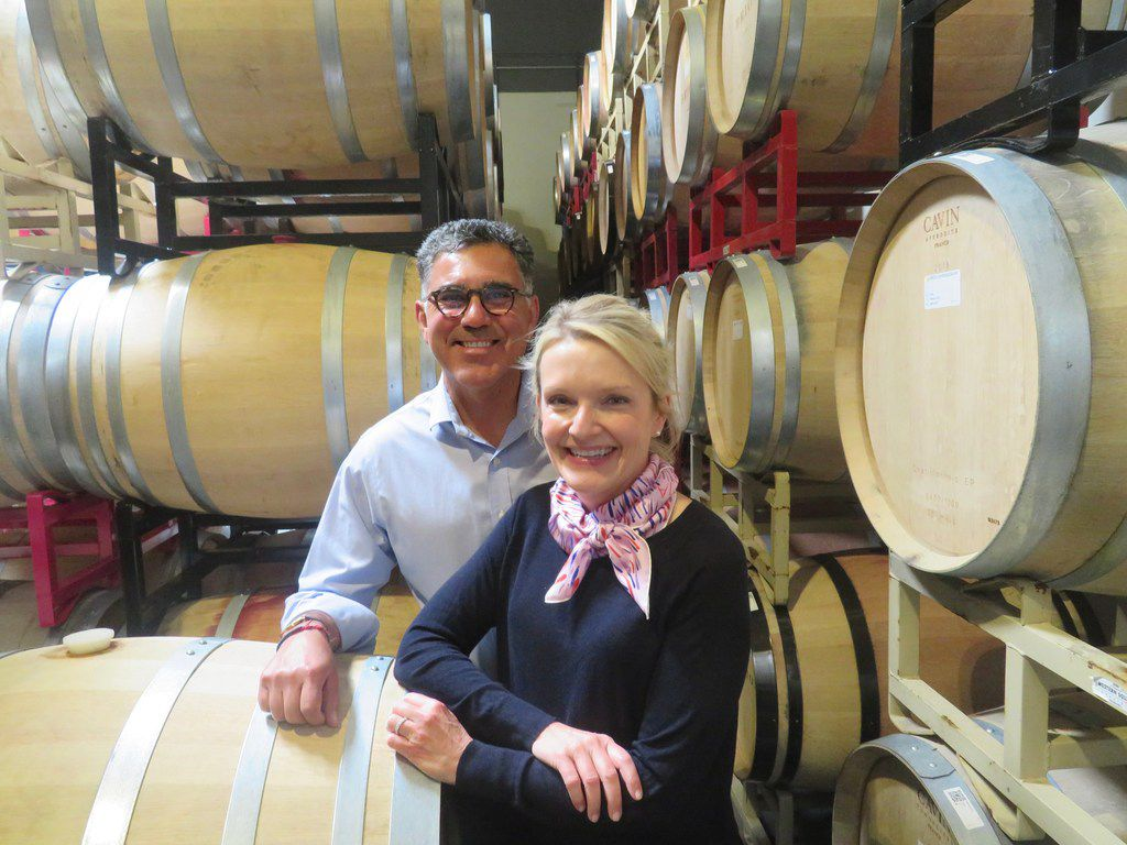 Joe and Margaret Valenzuela check out some of Rubia's wine aging in barrels at their winemaker Julien Fayard's property in Napa.