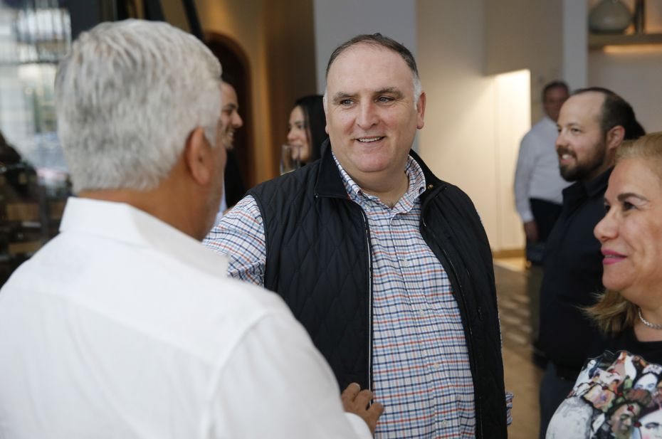 Chef José Andrés talks with Francisco Ramos and Monica C. Ramos (right) during an EatDrinkInsider dinner at Zaytinya in Frisco on May 28, 2019.
