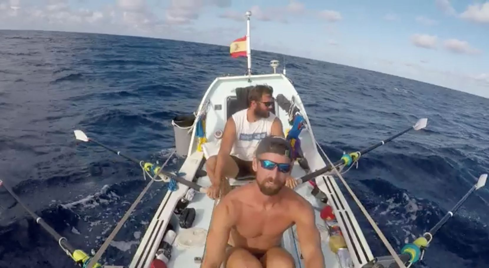 For Alviar (front), rowing the Atlantic was akin to climbing Mount Everest. Krauskopf (back) was nicknamed the Kraken, after the legendary sea monster, because of his strength on the oars.