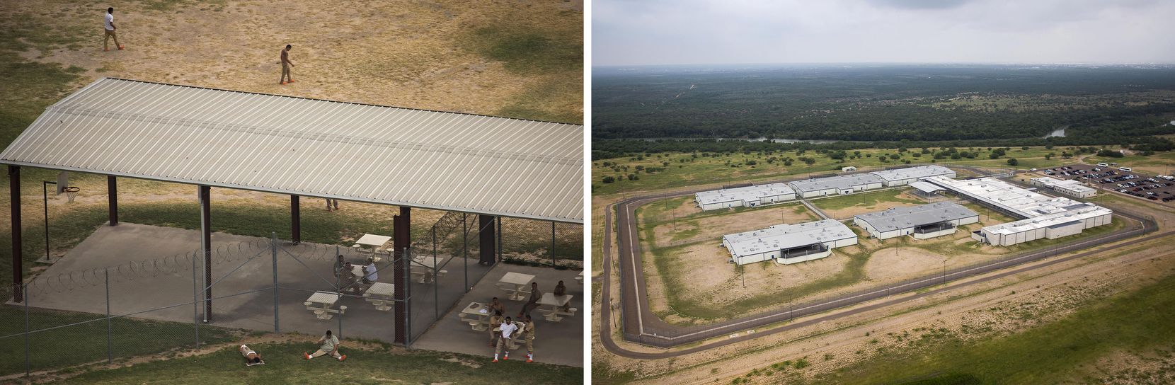Inmates in the Webb County Detention Center (left), a few miles away from El Cenizo, Texas, and (right) the U.S. Immigration and Customs Enforcement (ICE) Rio Grande Detention Center near the same area.