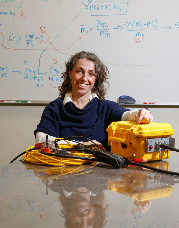 Beatrice Magnani, associate professor of geophysics at Southern Methodist University, at Heroy Science Hall on Southern Methodist University's main campus with a seismometer used in her research.