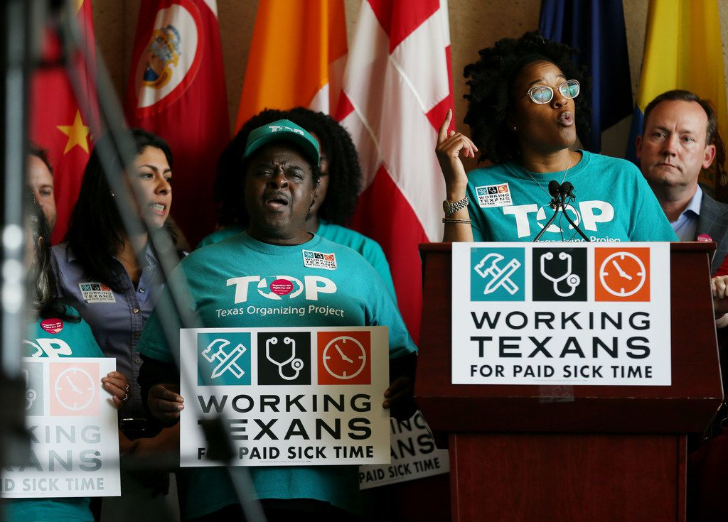Brianna Brown of the Texas Organizing Project spoke during a news conference with the Working Texans for Paid Sick Time at Dallas City Hall on April 13, 2018. (Andy Jacobsohn/The Dallas Morning News)