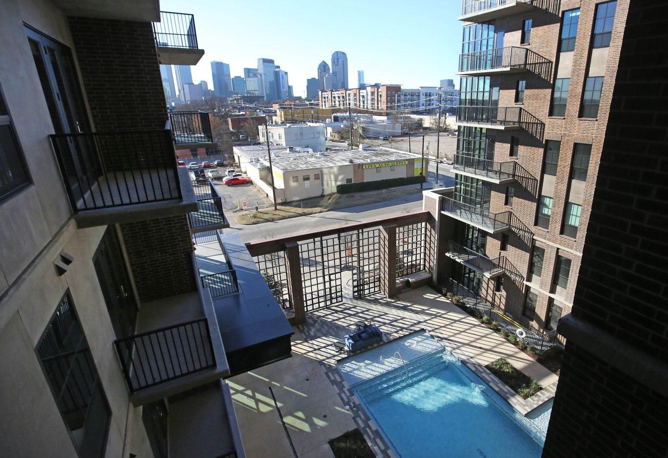 A view from the balcony of a two-bedroom unit at the Case Building at  3131 Main St. in Deep Ellum in Dallas.