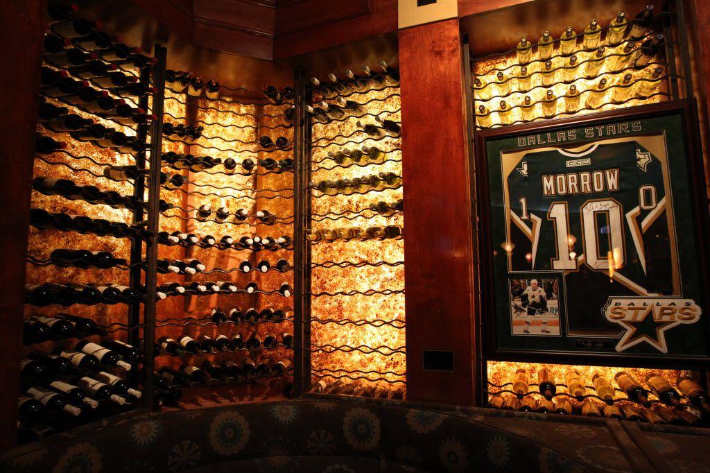 A wine cellar on a wall at Al Biernat's restaurant.