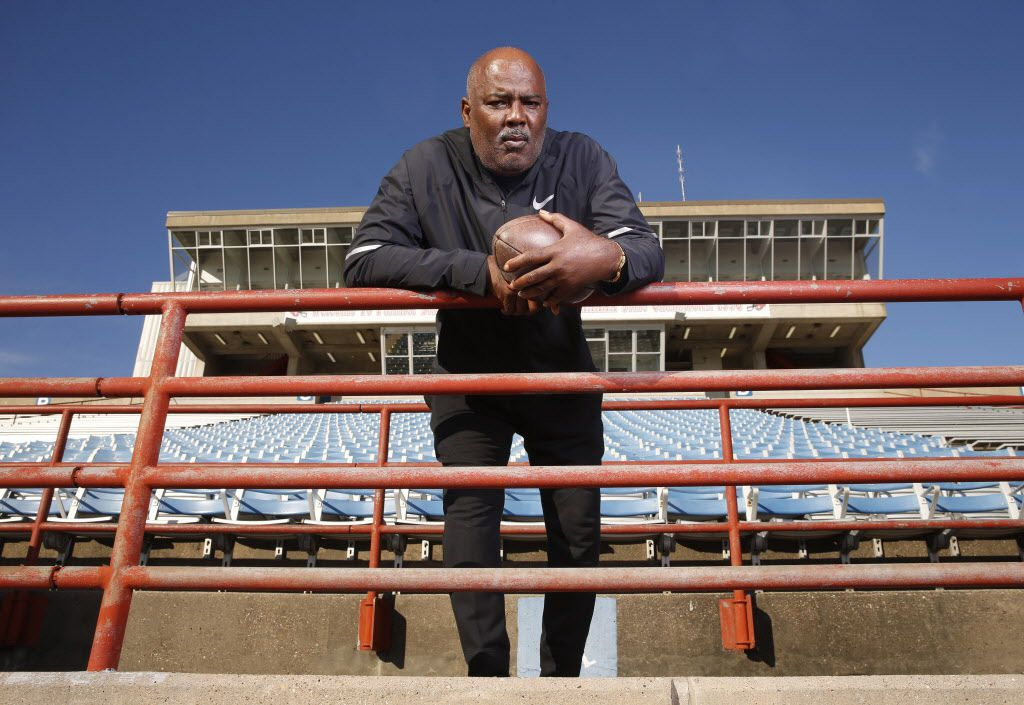 Reginald Samples, head coach of Duncanville, High School, poses for a portrait at the school in Duncanville, Texas on Dec. 18, 2018.  (Nathan Hunsinger/The Dallas Morning News)