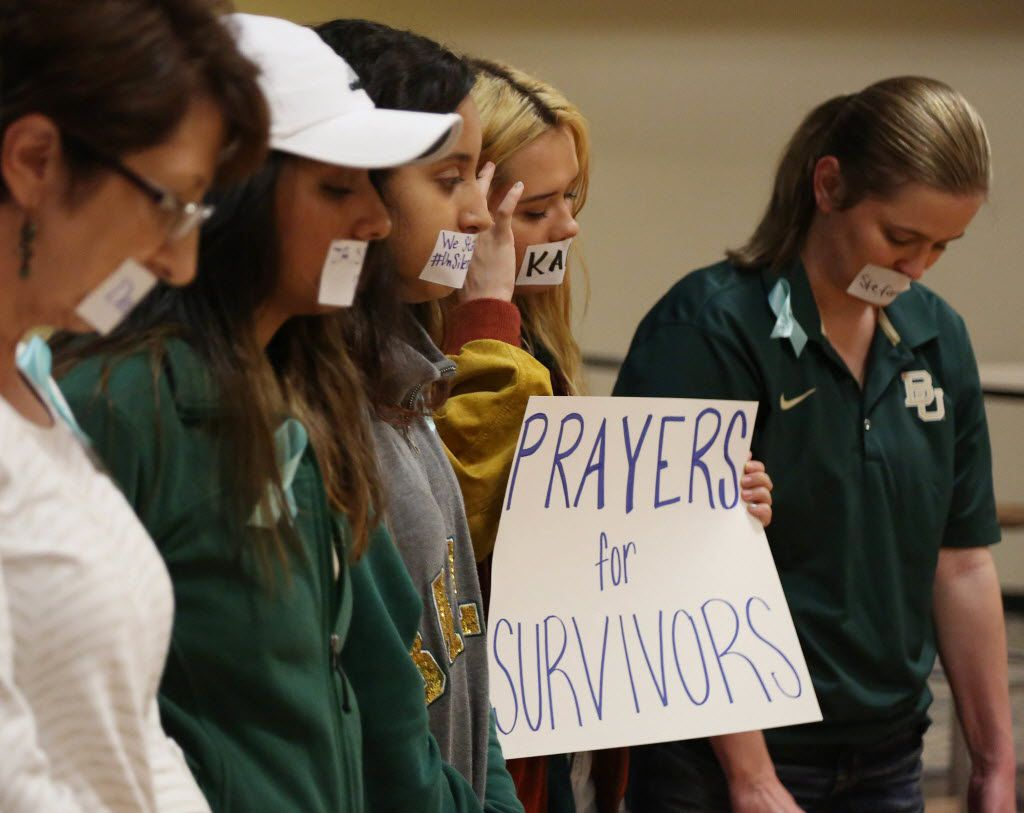 Current and former Baylor students hold a rally warning of sexual assaults on and off campus on Friday, June 3, 2016, in Waco, Texas.