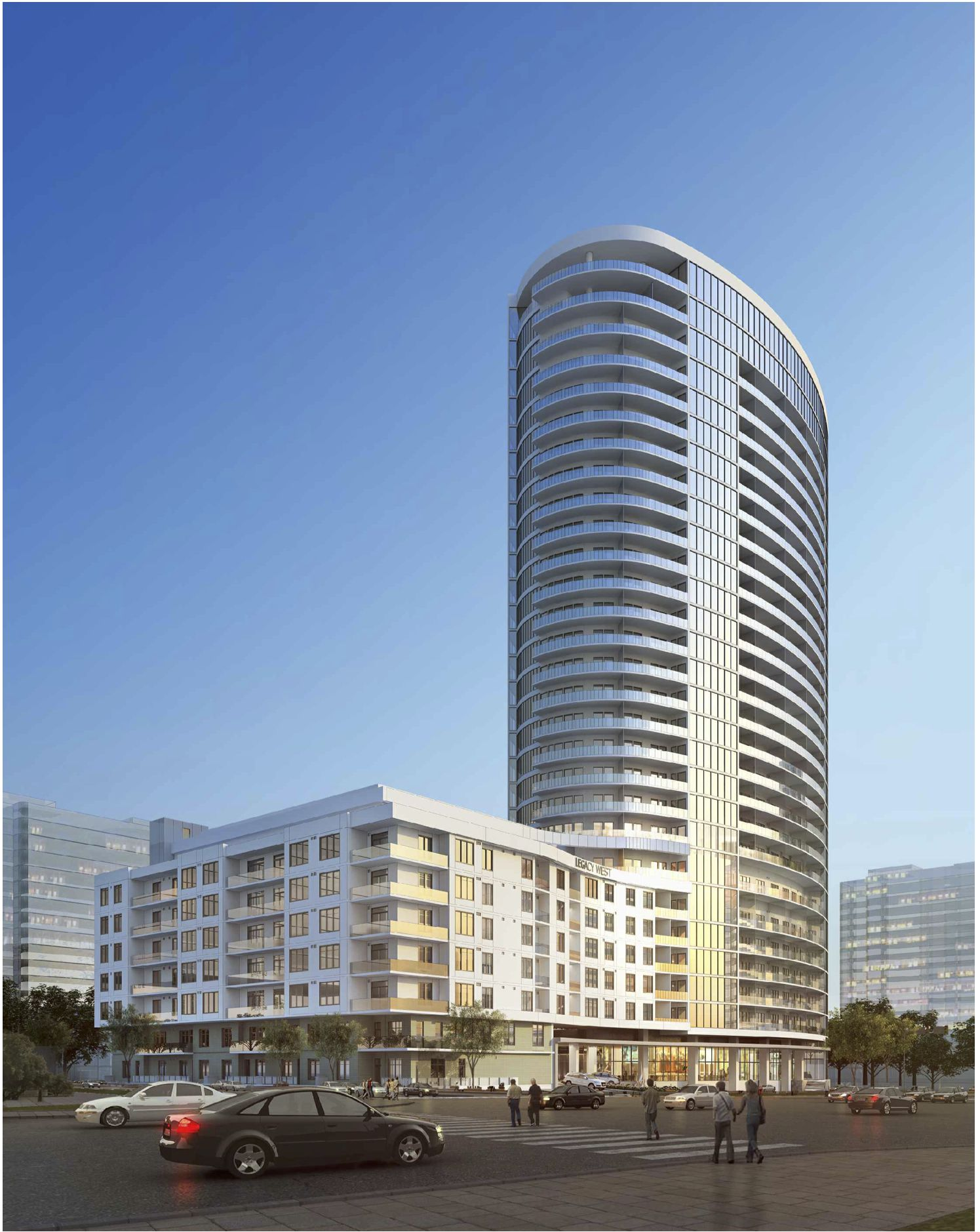 The 328-unit LVL29 apartment tower is being built west of the Dallas North Tollway in Legacy West.