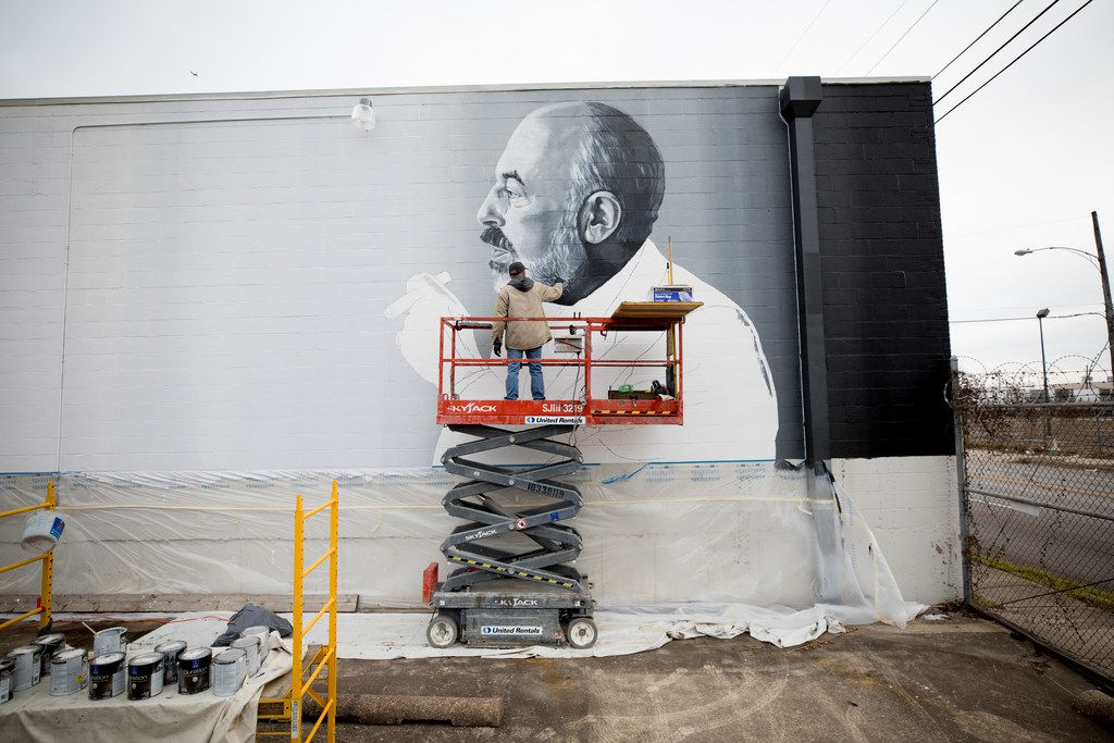 This mural of Neiman Marcus retail legend Stanley Marcus was commissioned by Shannon Wynne . Artist Brent Hale of Tyler took two weeks to paint the mural, which resembles a photograph of Marcus from the early '70s. The mural is at 2120 S. Ervay St. in The Cedars, near where Marcus lived as a child. The mural was photographed by Marcus' granddaughter, photographer and artist Allison V. Smith.