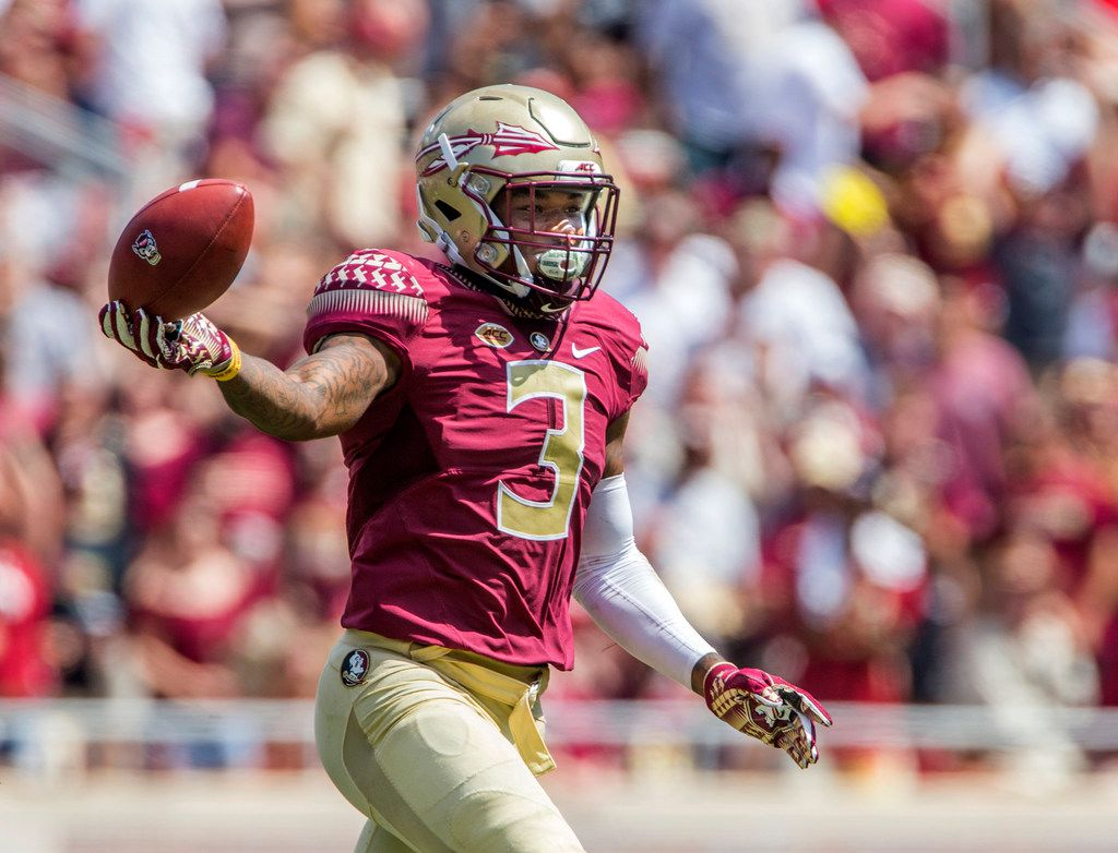 FILE - In this Sept. 23, 2017, file photo, Florida State defensive back Derwin James celebrates an interception with was ruled down in the second half of an NCAA college football game against North Carolina State, in Tallahassee, Fla. James was selected to the AP All-Conference ACC team announced Tuesday, Dec. 5, 2017. (AP Photo/Mark Wallheiser, File)