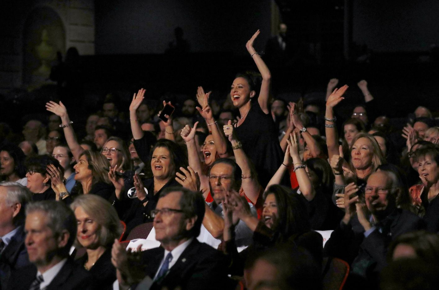 People cheer as Rep. Beto O'Rourke (D-TX) and Sen. Ted Cruz (R-TX) debate at McFarlin Auditorium at SMU in Dallas, on  Friday, September 21, 2018.