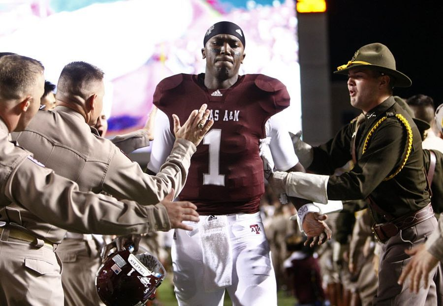 Johnson fue mariscal de los Texas A&M Aggies . Foto DMN