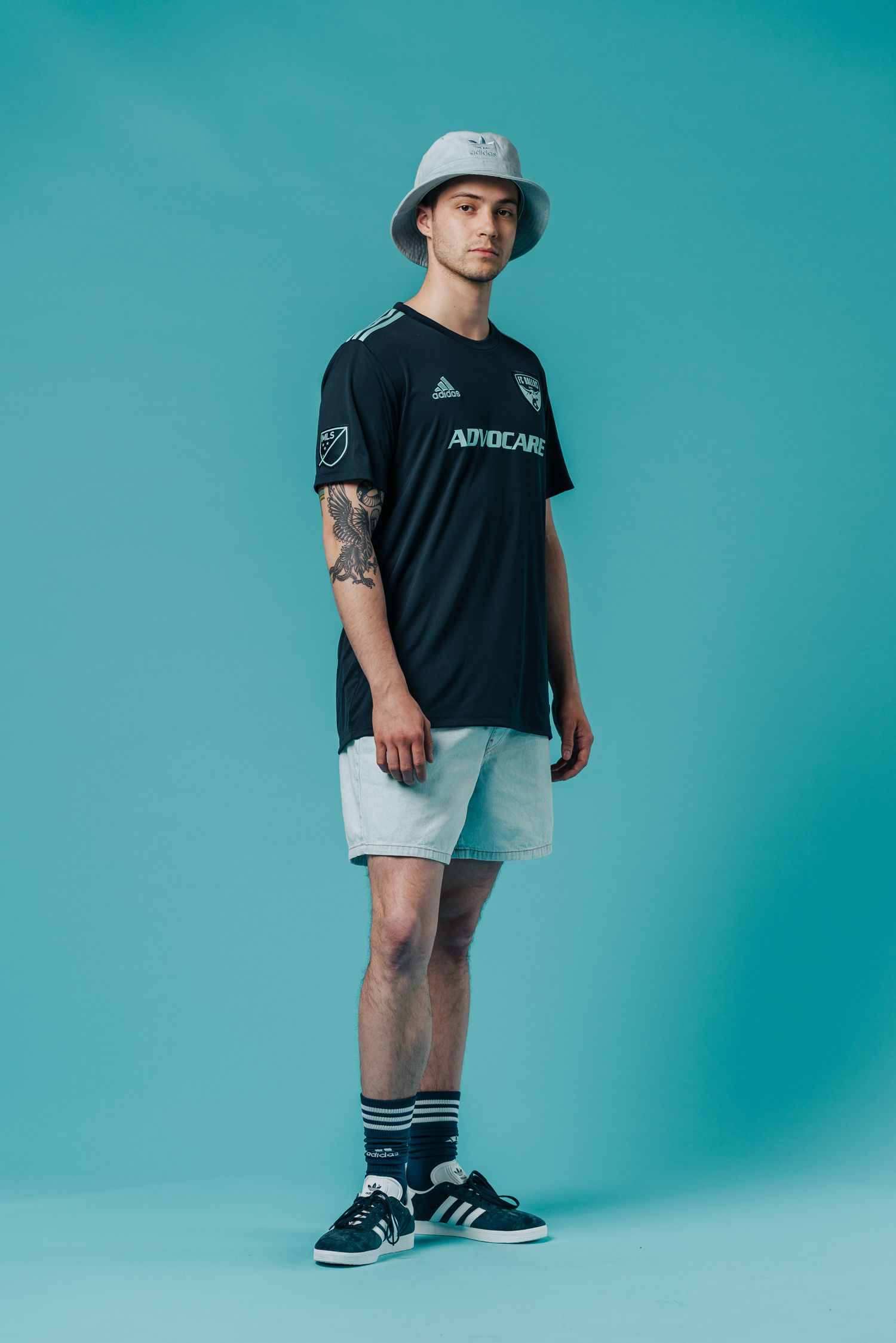 The 2019 FC Dallas adidas Parley jersey with socks and shorts. Actual game short not pictured but potentially could be the same color or continue the dark gray.
