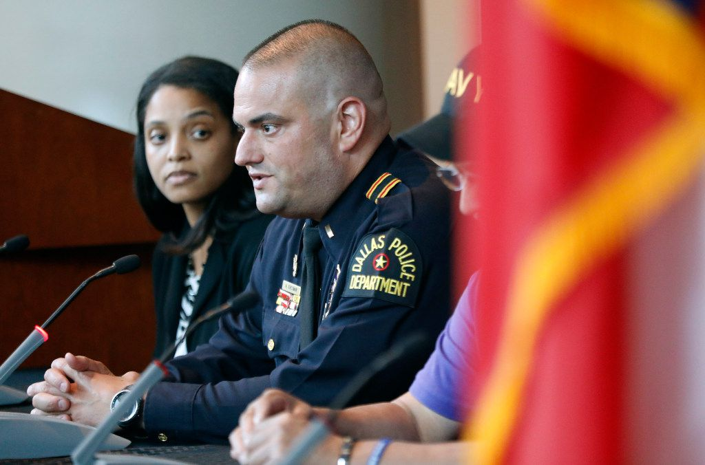 Dallas Police lieutenant and lead medical officer Alex Eastman answers a question during a July 7 Anniversary panel discussion at Dallas Police Headquarters in Dallas, Friday, July 7, 2017. DPD and DART police discussed the progress they've made since the ambush shooting in downtown Dallas a year ago. (Tom Fox/The Dallas Morning News)