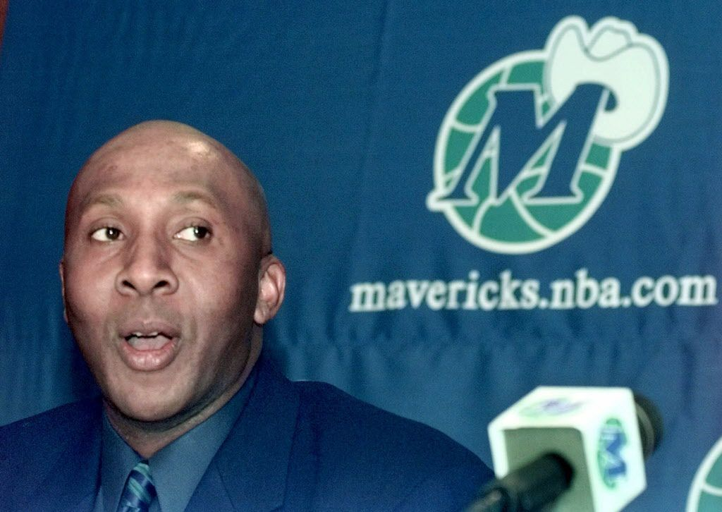 Former Dallas Mavericks guard Derek Harper, who began his professional basketball career in 1983, talks about his retirement as a basketball player to serve as vice president of business relations for the Mavericks in Dallas, Monday, Jan. 31, 2000. Harper, who was traded from Los Angeles to Detroit in September, sat out this season and submitted official retirement papers to the league on Dec. 29.