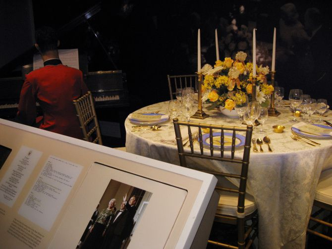 The George Bush Presidential Library and Museum in College Station has a display of the menu, table setting, and attire for a 1991 state dinner with Mikhail Gorbachev.