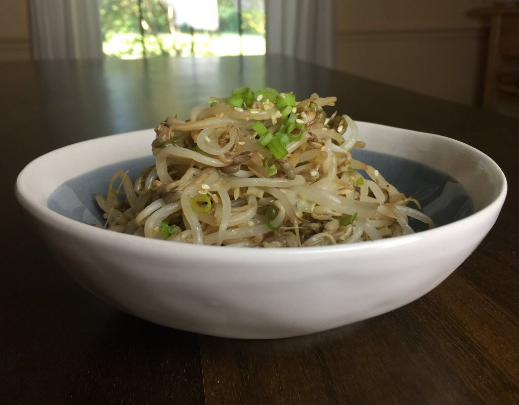 "Korean bean sprout salad from ""Cook Korean!: A Comic Book with Recipes,"" by Robin Ha. (Leslie Brenner/Staff)"