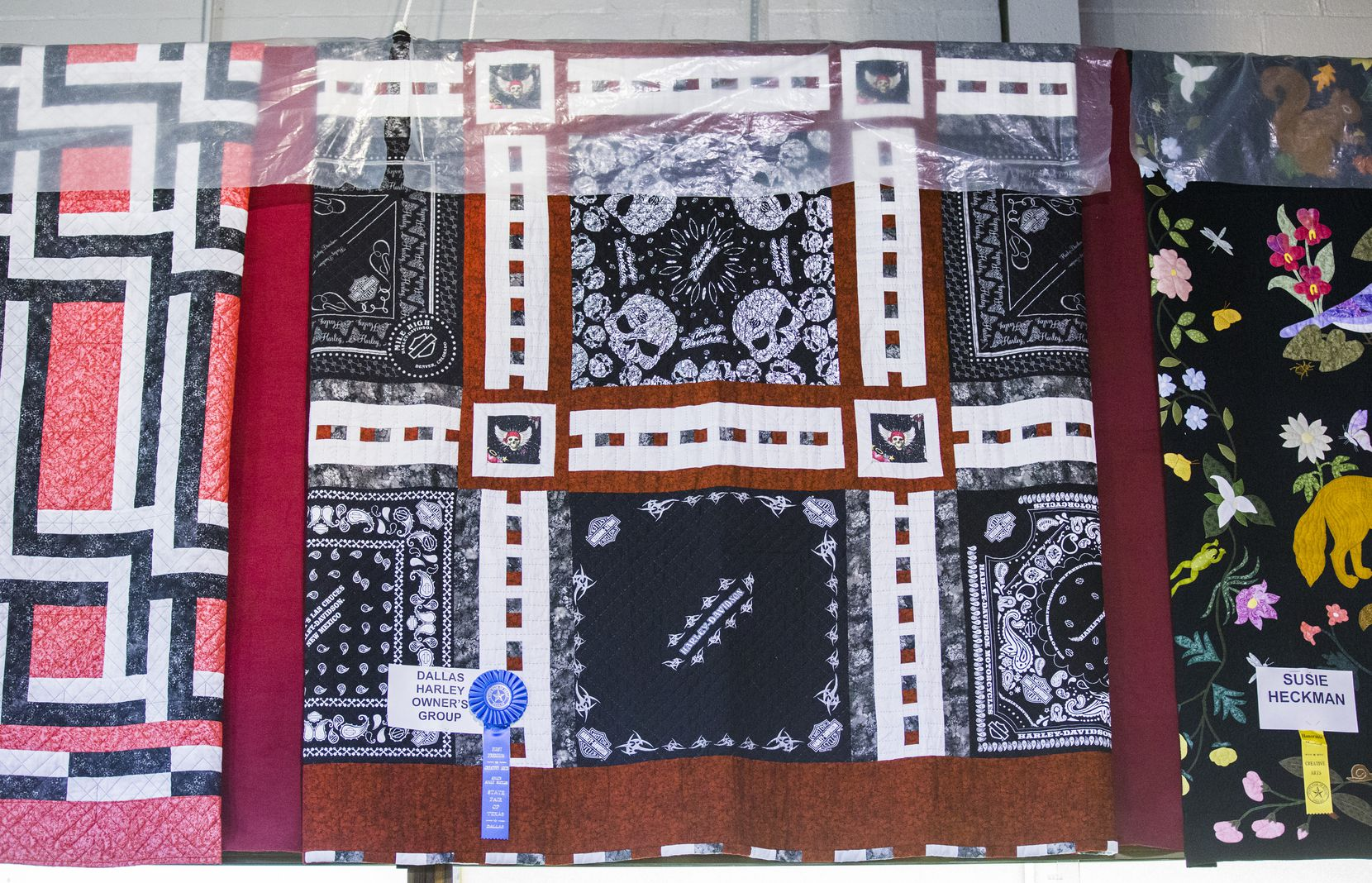 The Dallas Harley Owners Group's blue-ribbon quilt , in the Creative Arts Building at the State Fair of Texas.