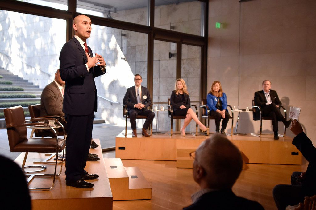 Mayoral candidate Miguel Solis, left, stands as he speaks about the issues facing the arts in Dallas communities at the Dallas Mayoral Arts and Cultural Forum held at the Nasher Sculpture Center in Dallas, Monday March 25, 2019. Ben Torres/Special Contributor