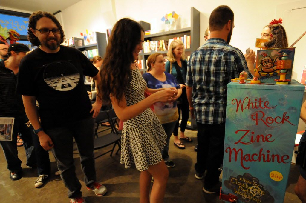 A customer admires the zine machine at White Rock Zine Machine launch party at Deep Vellum Publishing in Dallas, TX on July 22, 2016. (Alexandra Olivia/ Special Contributor)