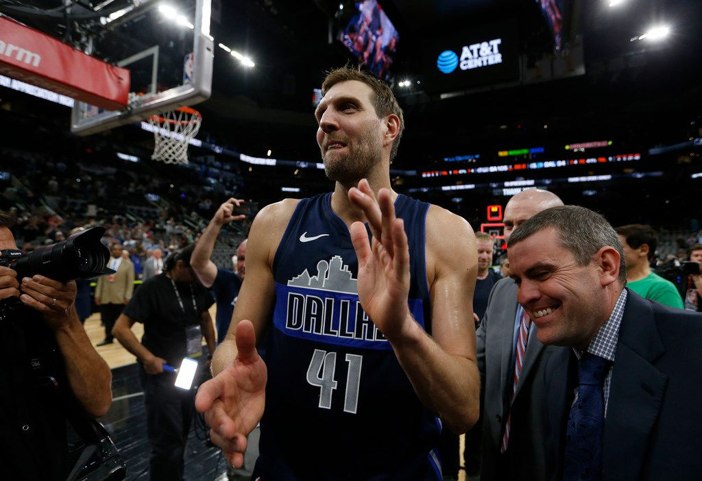 Dallas Mavericks forward Dirk Nowitzki (41) walks off the court after the game against the San Antonio Spurs at AT&T Center in San Antonio, Texas on Wednesday, April 10, 2019. (Vernon Bryant/The Dallas Morning News)