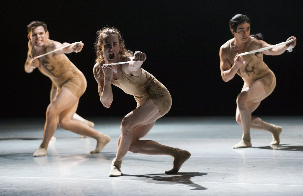 David Escoto (left), Brock James Henderson (center) and Nestor Perez perform in Skin, choreographed by Andy and Dionne Noble, during a dress rehearsal of the show Six by the Bruce Wood Dance Project on Friday, June 17, 2016 at Dallas City Performance Hall in downtown Dallas.  (Ashley Landis/The Dallas Morning News)