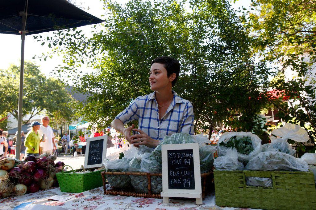 Megan Neubauer of Pure Land Organic sells at the Historic McKinney Farmers Market last year.