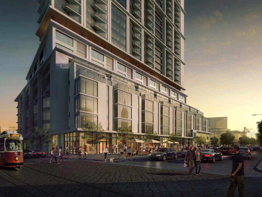 Flora Lofts will sit beneath the Atelier high-rise planned for the Dallas Arts District.