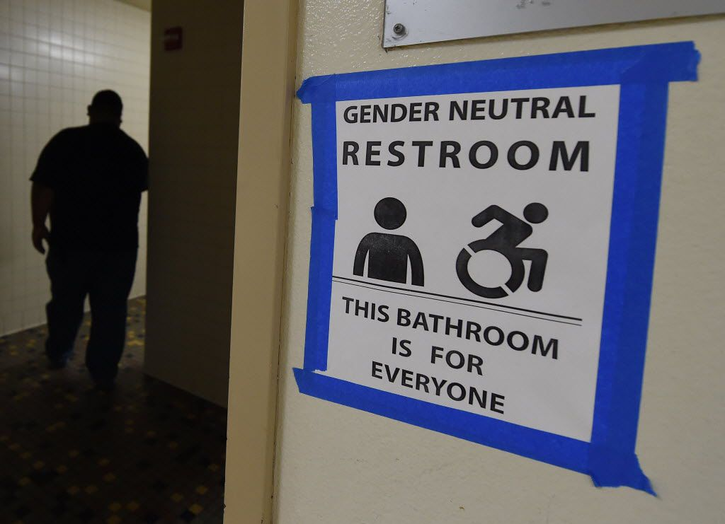 Signs are posted outside the Santee High School's gender neutral restrooms at their campus in Los Angeles, California on May 4, 2016. (Mark Ralston/AFP/Getty Images)