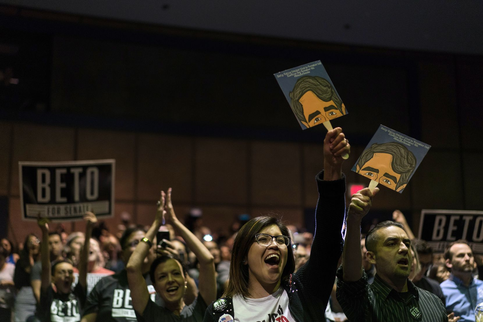 Supporters cheered for Rep. Beto O'Rourke, the Democratic challenger to Sen. Ted Cruz, as he campaigned at the University of Texas at El Paso earlier this week. (Todd Heisler/The New York Times)