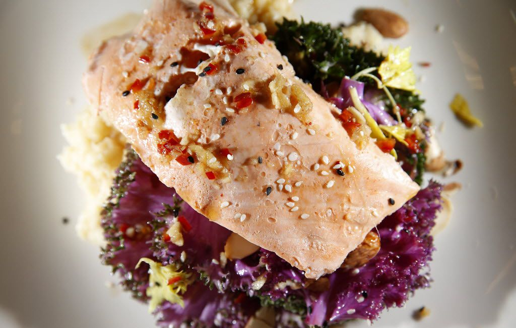 Poached salmon with parsnip purée and purple kale