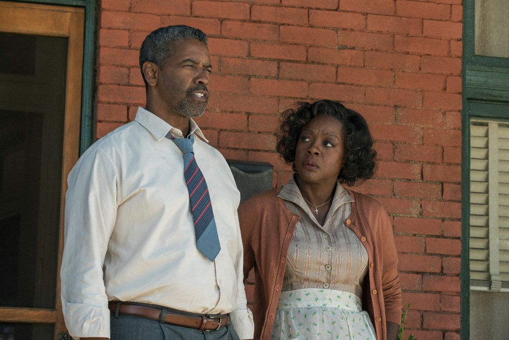 "Denzel Washington, left, and Viola Davis in ""Fences,"" directed by Washington."