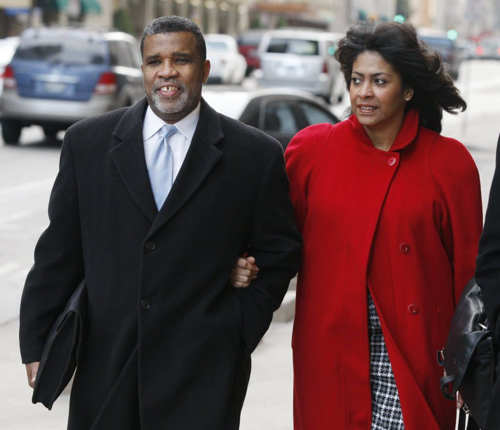Former City Council member Don Hill and wife Sheila Farrington arrive at the Earle Cabell Federal Courthouse in downtown Dallas.