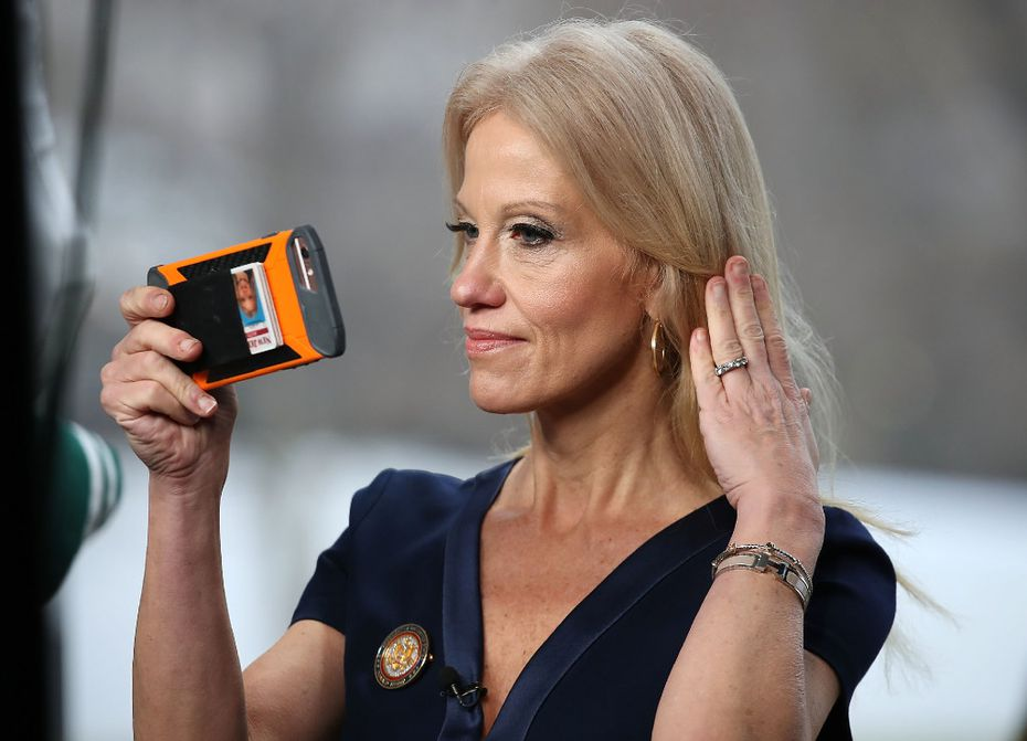 "Trump counselor Kellyanne Conway defended Spicer's false complaints about press coverage of the inauguration Sunday on ""Meet The Press."" (Mark Wilson/Getty Images)"