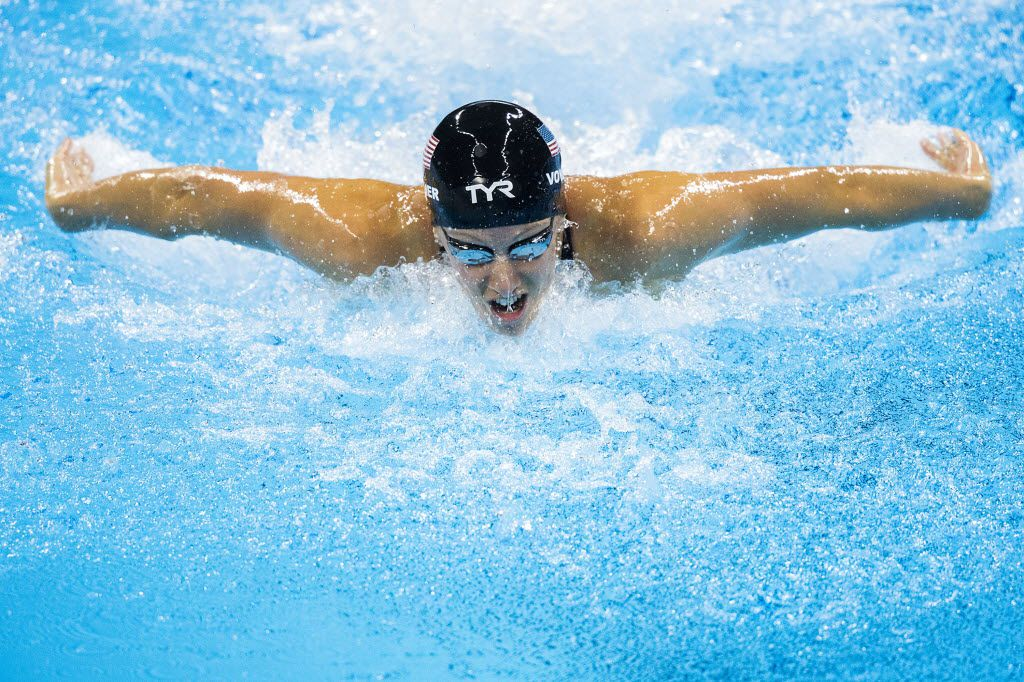 Dana Vollmer of the United States swims to a bronze medal in the women's 100m butterfly finals at the Rio 2016 Olympic Games on Sunday, Aug. 7, 2016, in Rio de Janeiro. (Smiley N. Pool/The Dallas Morning News)